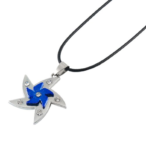Rosallini Women Men Silver Tone Blue Alloy Windmill Shaped Pendant Necklace
