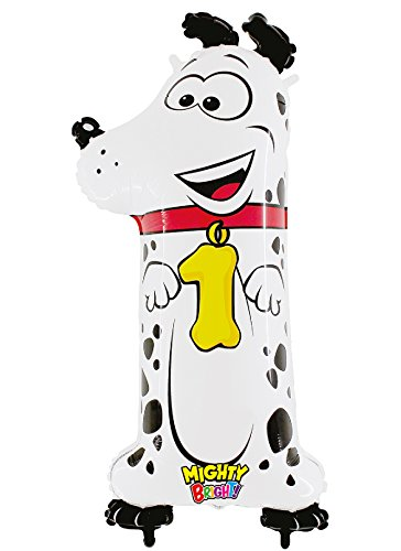 "Zooloon Number 1 Dalmatian Dog Shaped Jumbo 40"" Mylar Foil Balloon by Mighty Bright - 1"