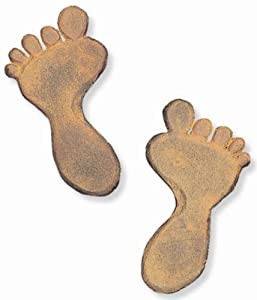 "Foot Print Cast Iron Stepping Stone - 6.5"" x 12"" - Sold in pairs"