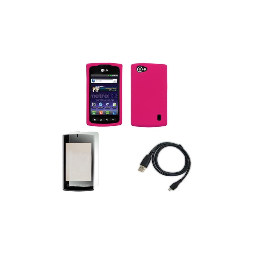 iFase Brand LG Optimus M+ MS695 Combo Solid Hot Pink