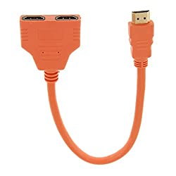 Imported 1080P HD HDMI Port Male to 2 Female 1In 2 Out Splitter Cable Adapter Orange