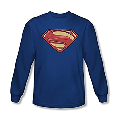 Superman Man of Steel Blue New Solid Shield Long Sleeve T-Shirt