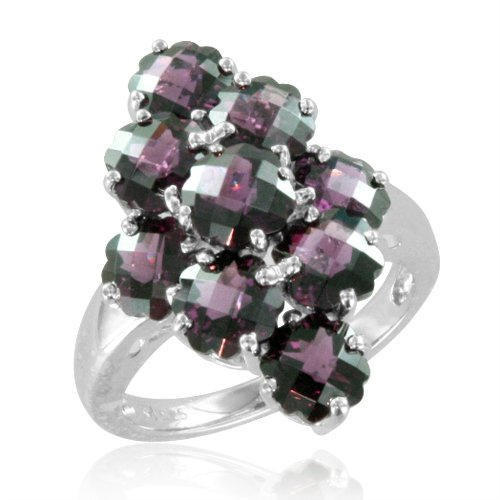 Cluster Natural Garnet Flower Ring in Sterling Silver - 7.20 cttw