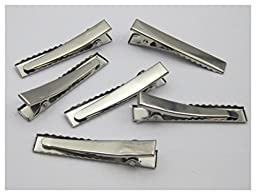 250pcs Silver Tone Pinch Alligator Hair Clips 45mm with Teeth Bows