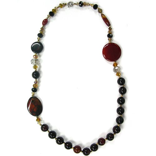 Pearlz Ocean Blended Agate and Glass 31-inch Fashion Necklace