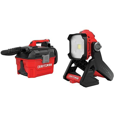 CRAFTSMAN V20 Cordless Shop Vac, 2 Gallon, Wet/Dry with LED Work Light, Tools Only (CMCV002B & CMCL030B)