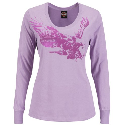 Harley-Davidson Womens Fast Livin Purple Long Sleeve T-Shirt (Small)