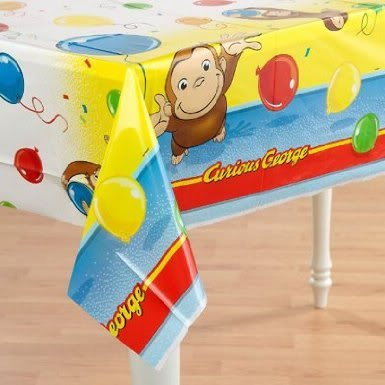 Famous Curious George 54in X 84in Plastic Tablecover (84 X 0.1 X 54 Inches) - Makes Cleaning Up Easy Jouets, Jeux, Enfant, Peu, Nourrisson