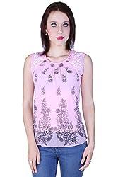 Zavi Pink Printed Fancy Net Top for Women