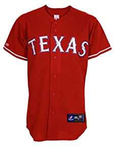 MLB Mens Texas Rangers Elvis Andrus Scarlet Alternate Short Sleeve 6 Button Synthetic... by Majestic