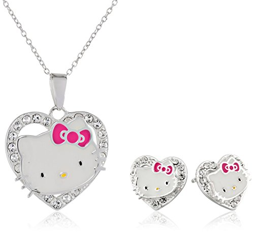 Hello Kitty Hello Kitty Girls Sterling Silver Crystal Heart Pendant and Earrings Set