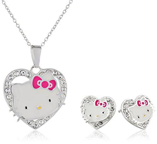 Hello KittyHello Kitty Girls Sterling Silver Crystal Heart Pendant and Earrings Set