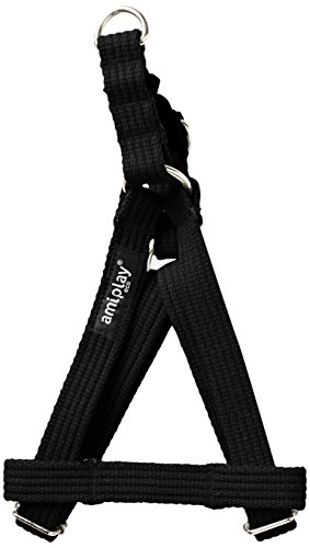 ami-play-cotton-dog-harness-soft-and-durable-with-adjustable-handles-medium-black