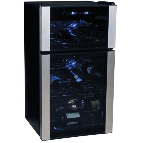 Koolatron KWD28SNG 28-Bottle Digital Temperature Control Dual Zone Wine Cellar, Black