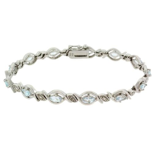 Sterling Silver Diamond Accented Blue Topaz Bracelet