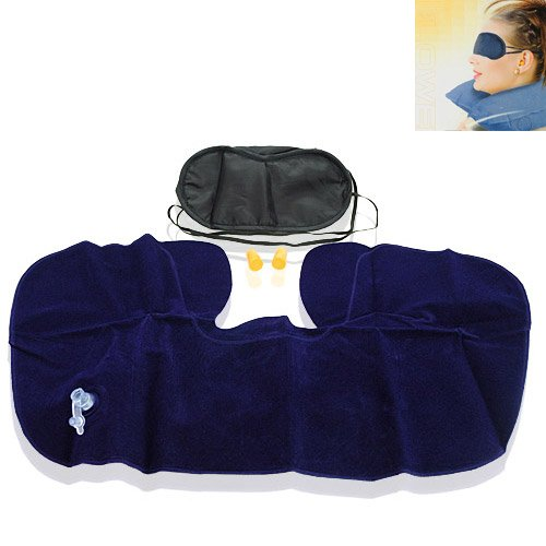 Three Health-Care Leisure Treasures Of Air Pillow/Eyeshade/3M Anti- Noise Earplugs For Travel/Relaxation