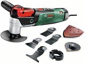 Bosch PMF 250 CES HomeSeries Multifunktionswerkzeug + 8 tlg. Säge- und Schleifblatt-Set + Tiefenanschlag + Koffer (250 W, 15.000-20.000 1/min)