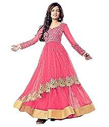 Ustaad Womens Semi Stitched Net Anarkali Salwar Suit (Gajri)
