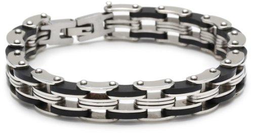 Men's Stainless Steel Two Tone Bike Chain Bracelet, 8.5