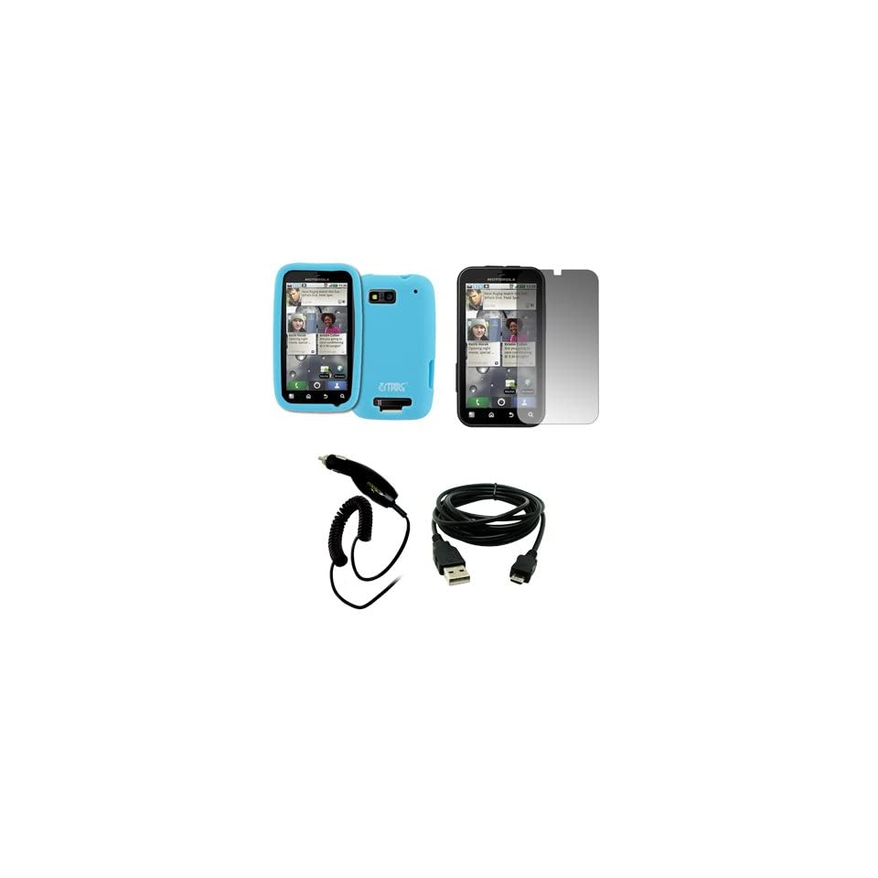 EMPIRE Light Blue Silicone Skin Case Cover + Screen Protector + Car Charger (CLA) + USB Data Cable for T Mobile Motorola Defy MB525
