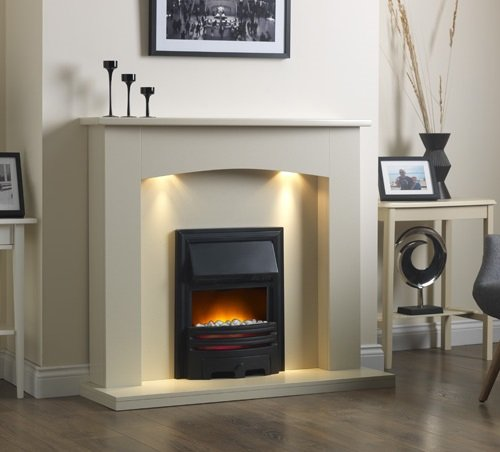 Best Price For Electric Cream Ivory Black Led Coal Fire Modern Wall
