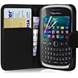teKKno� Leather Side Flip Wallet Case And LCD Guard for The Blackberry Curve 9320 (Black)
