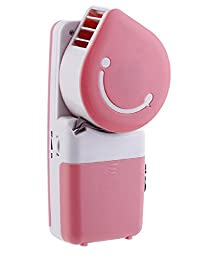 Generic Handheld Air Conditioner Battery USB Fan Smiley Face Shaped Pink