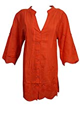 Indiatrendzs Women Embroidered Cotton Red Shirt Style Long Tunic Chest; 44