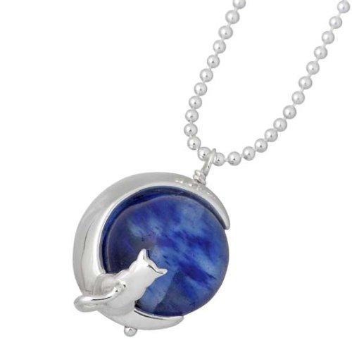 Blue Cat ブルーキャット シルバー 三日月ネコ ネックレス ブルーベリークォーツ SPV637-1052