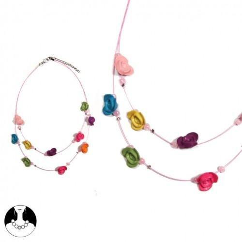 sg paris kid necklace necklace 2 rows 40/35cm multicolor plastic