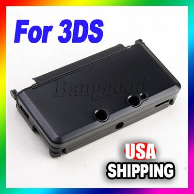 Nice Quality  New Black Plastic Aluminum Box Hard Metal Skin Cover Case F Nintendo 3ds N3ds Us with save shipping here