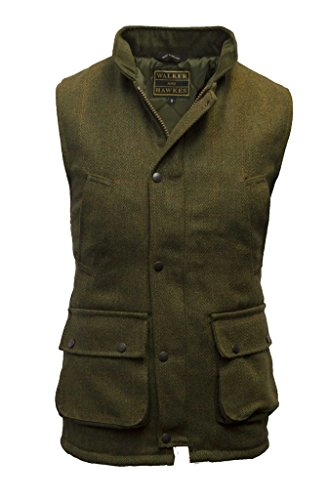 Walker and Hawkes Men's Derby Tweed Shooting Waistcoat Country Gilet Large Dark Sage (Quilted Waistcoat compare prices)