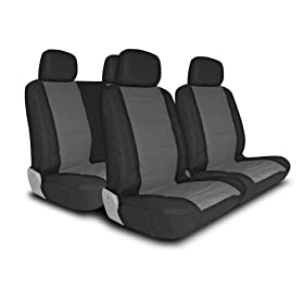 UNIVERSAL CAR SEAT COVER FOR MIDSIZE AND COMPACT CARS FULL SET - LEATHER LOOK - BLACK/GRAY