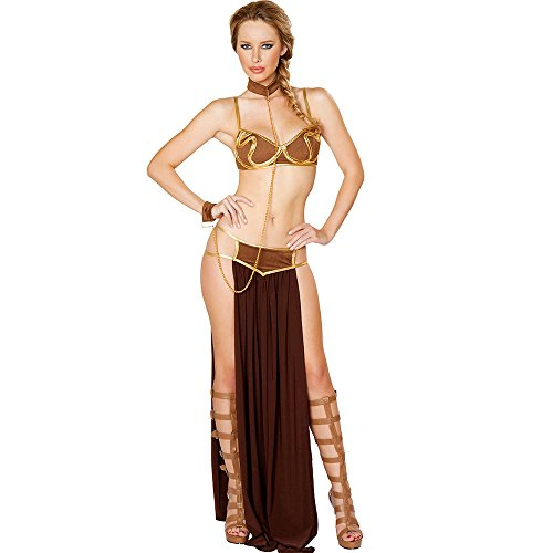 Star Wars Cosplay Sexy Princess Leia Slave Dress Costume Halloween Costume (Star Wars Slave Leia Costume)