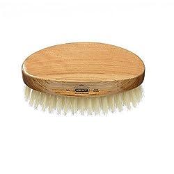 Kent Brushes Mens Oval Cherrywood White Bristle Brush MC4 travel size