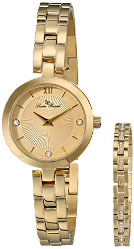 Lucien Piccard Women's LP-10050-YG-10-SET Carina Gold-Tone Watch and Crystal-Accented Bracelet Set