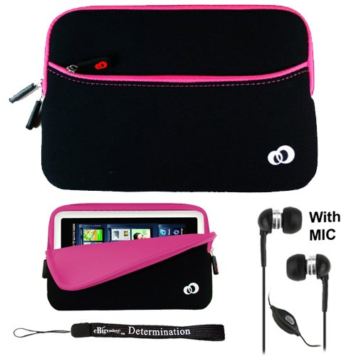 "Premium Neoprene Durable Protective Pink Carrying Cover Case Slim Design for Pandigital Novel 7"" Color Multimedia White eReader + Indlues a 4-Inch Determination Hand Strap + Includes a Crystal Clear HD Noise Filter Handsfree with Mic and Mute Button"