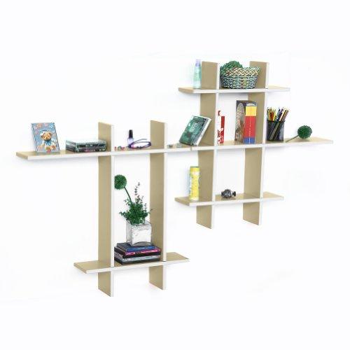 Trista - [Brief & Elegance-Mega] Leather Cross Type Shelf / Bookshelf / Floating Shelf (9 Pcs)