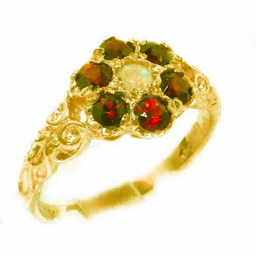 Victorian Ladies Solid 14K Yellow Gold Natural Fiery Opal & Garnet Daisy Ring - Size 9.75 - Finger Sizes 5 to 12 Available - Perfect Gift for Birthday, Christmas, Valentines Day, Mothers Day, Mom, Mother, Grandmother, Daughter, Graduation, Bridesmaid.