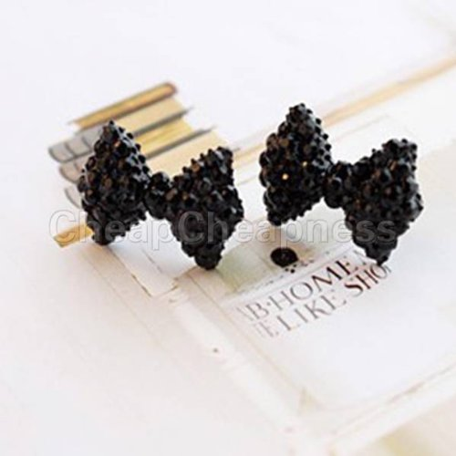A Pair Fashion Cute Black Rhinestone Crystal Bowknot Bow Tie Stud Earring - 1