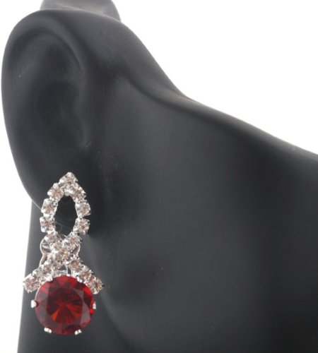 Ladies Silver Iced Out Ribbon Style with Red Stone Clip On Stud Earrings