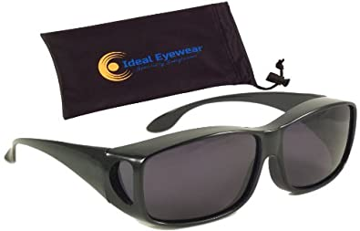 Sun Shield Fit Over Sunglasses with Polarized Lenses - Fit Over Prescription Glasses (Black Frame / Smoke Lens with Case)