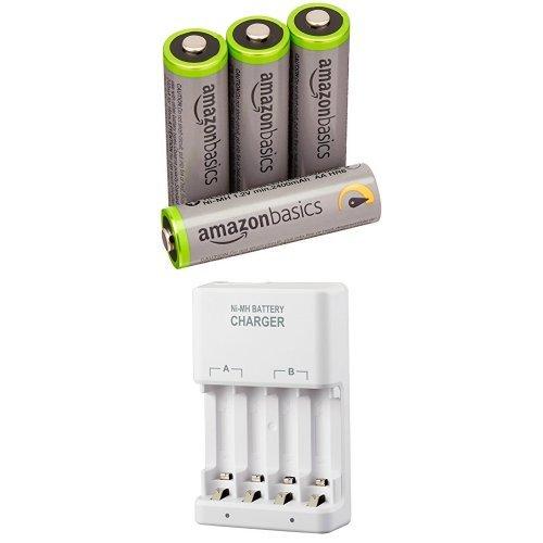 Amazonベーシック 高容量充電式ニッケル水素電池 充電器セット 単3形充電池4個パック付