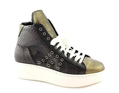 DIVINE FOLLIE 5114 nero oro scarpe donna sportive sneakers alte lacci pelle 40