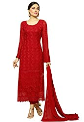 Zombom Red Georgette Embroidered Un-stitched Salwar Suit