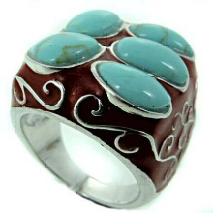 Ring with Turquoise and Black Namely QRZ26 (7)