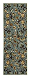 Custom Size TEAL-GREEN Floral Rubber Backed Non-Slip Hallway Stair Runner Rug Carpet 22 inch Wide Choose Your Length 22in X 9ft