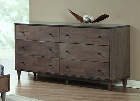 Vilas Light Large Charcoal Wood 6-drawer Chest Dresser Bedroom Storage Furniture