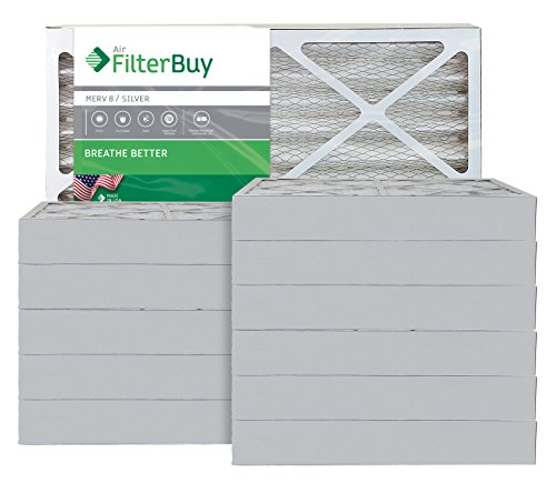 AFB Silver MERV 8 15x30x4 Pleated AC Furnace Air Filter. Pack of 12 Filters. 100% produced in the USA.