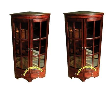 D-ART COLLECTION 2-Piece Mahogany Corner PI Cabinet Set